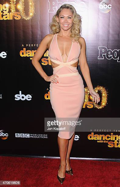 Dancer Kym Johnson arrives at the 10th Anniversary Of 'Dancing With The Stars' Party at Greystone Manor on April 21 2015 in West Hollywood California