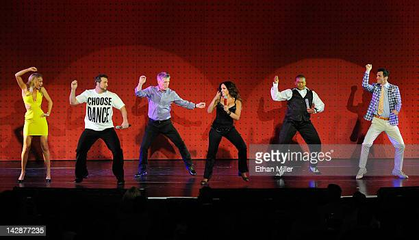 Dancer Kym Johnson entertainer Joey Fatone television personality and Dancing with the Stars host Tom Bergeron dancer Lacey Schwimmer actor Kyle...