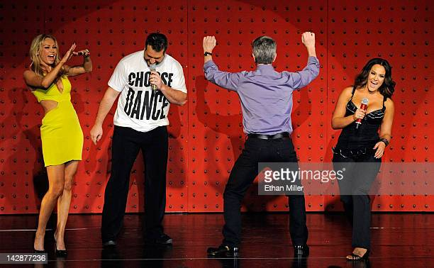 Dancer Kym Johnson entertainer Joey Fatone television personality and Dancing with the Stars host Tom Bergeron and dancer Lacey Schwimmer perform...
