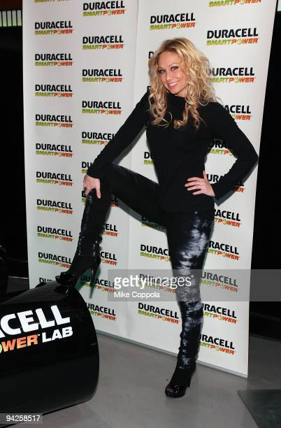 Dancer Kym Johnson visits the Duracell Smart Power Lab in Times Square on December 10 2009 in New York City