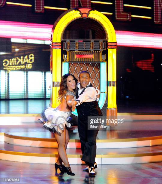 Dancer Lacey Schwimmer and actor Kyle Massey perform during the grand opening of Dancing With the Stars Live in Las Vegas at the New Tropicana Las...
