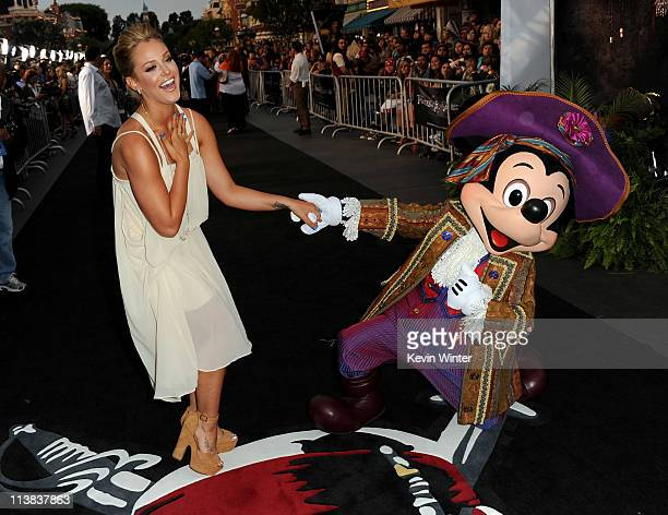 """Dancer Lacey Schwimmer and Mickey Mouse arrive at premiere of Walt Disney Pictures' """"Pirates of the Caribbean: On Stranger Tides"""" held at Disneyland..."""