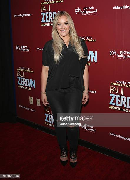 Dancer Lacey Schwimmer attends the opening night of 'Paul Zerdin Mouthing Off' at Planet Hollywood Resort Casino on May 13 2016 in Las Vegas Nevada
