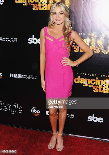 Dancer Lindsay Arnold arrives at the 10th Anniversary Of Dancing With The Stars Party at Greystone Manor on April 21 2015 in West Hollywood California