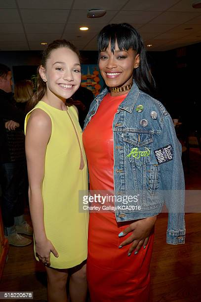 Dancer Maddie Ziegler and actress Keke Palmer attend Nickelodeon's 2016 Kids' Choice Awards at The Forum on March 12 2016 in Inglewood California