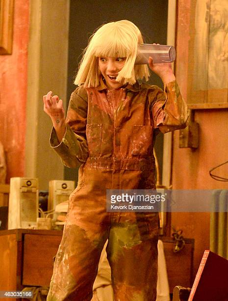 """Dancer Maddie Ziegler lip-syncs Sia's """"Chandelier"""" onstage during The 57th Annual GRAMMY Awards at the at the STAPLES Center on February 8, 2015 in..."""