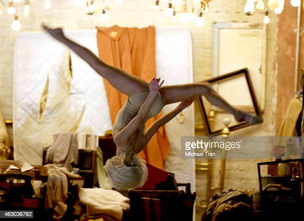 Dancer Maddie Ziegler performs with actress Kristen Wiig and recording artist Sia onstage during The 57th Annual GRAMMY Awards at STAPLES Center on...