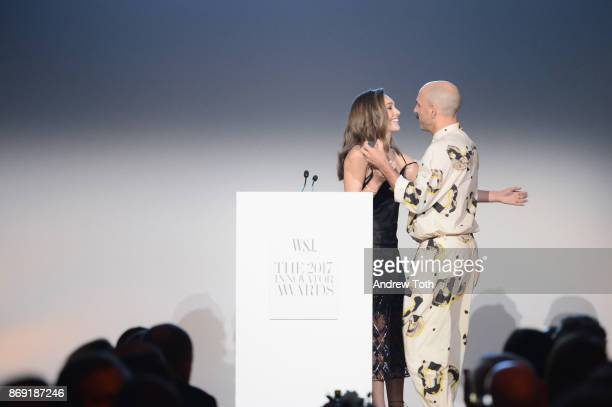 Dancer Maddie Ziegler presents an award to Ryan Heffington onstage during the WSJ. Magazine 2017 Innovator Awards at MOMA on November 1, 2017 in New...