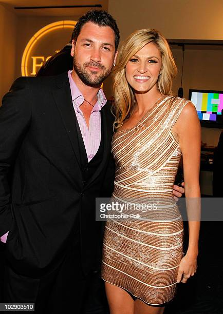 Dancer Maksim Chmerkovskiy and ESPN talent Erin Andrews pose at the 2010 ESPY Awards at Nokia Theatre LA Live on July 14 2010 in Los Angeles...