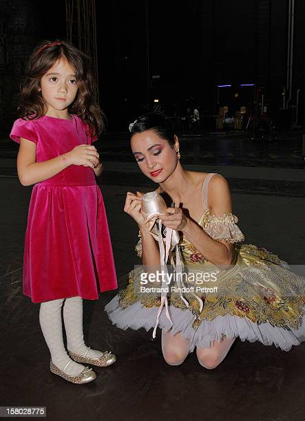 Dancer Mathilde Froustey poses with Salma Hayek's daughter Valentina Paloma Pinault after the Don Quichotte Ballet Hosted By 'Reve d'Enfants'...