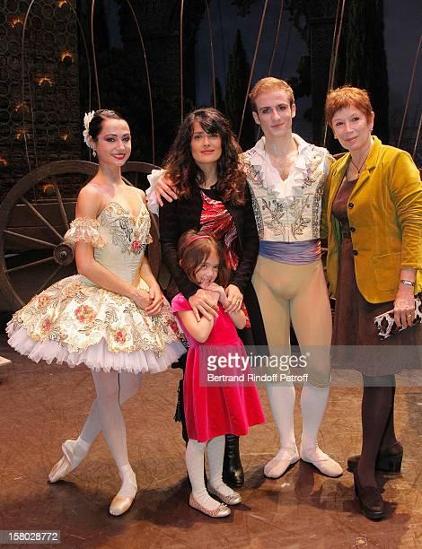 Dancer Mathilde Froustey Salma Hayek her daughter Valentina Paloma Pinault dancer Francois Alu and Brigitte Lefevre Director Dance Opera de Paris...