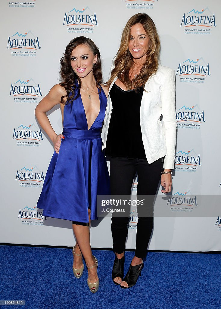 Dancer/ media personality Karina Smirnoff and reality TV personality/model Kelly Bensimon attend The Aquafina 'Pure Challenge' After Party at The Empire Hotel Rooftop on February 6, 2013 in New York City.