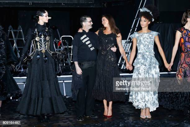 Dancer Melissa Sicre Stylist Franck Sorbier Godmother of the Collection daughter of Lio singer Nubia Esteban and Models acknowledge the applause of...
