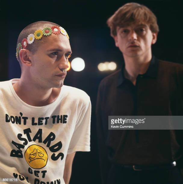 Dancer Michael Clark and singer and lyricist Mark E Smith of The Fall on the set of the ballet 'I Am Kurious Oranj' at the King's Theatre Edinburgh...