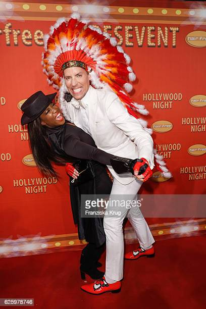 Dancer Motsi Mabuse and Hairfree founder Jens Hilbert attend the Hollywood Superhero Fairytale Night hosted by Jens Hilbert on November 26 2016 in...