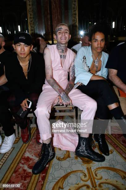 Dancer Naoto Kataoka rapper Lil Peep and Luka Sabbat attend the Haider Ackermann Menswear Spring/Summer 2018 show as part of Paris Fashion Week on...