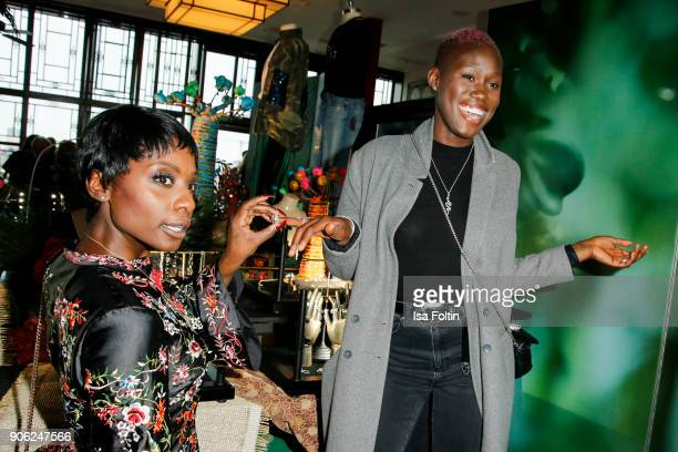Dancer Nikeata Thompson and Model Aminata Sanogo attend the Thomas Sabo Press Cocktail during the MercedesBenz Fashion Week Berlin A/W 2018 at China...
