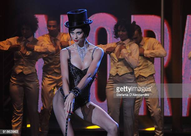 Dancer Nora Mogalle performs during Italian Tv Show 'Chiambretti Night' on October 13 2009 in Milan Italy