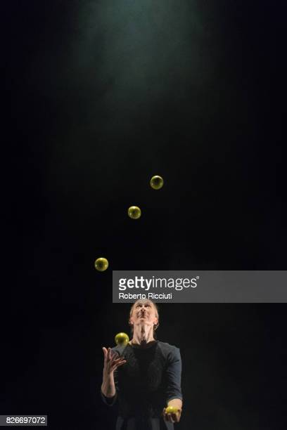 A dancer of Gandini Juggling performs 'Sigma' on stage during a show at Assembly Hall during the annual Edinburgh Fringe Festival on August 5 2017 in...