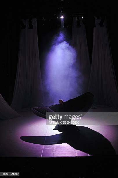 A dancer of Hungarian Art Movements Company performs at the Hungarian Dance Theatre in Budapest on February 15 2011 during the dressed rehearsal of...