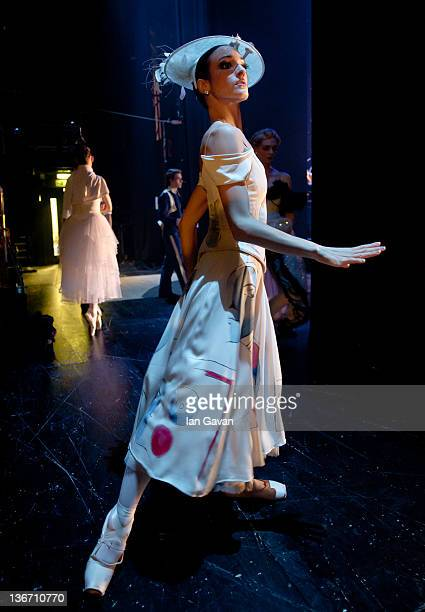 A dancer of the English National Ballet waits in the wings during their performance of 'Strictly Gershwin' at the Coliseum on January 10 2012 in...