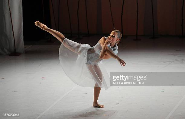 A dancer of the Feledy's contemporary dance company perform on the stage of the National Dance Theatre on November 27 2012 in Budapest during their...