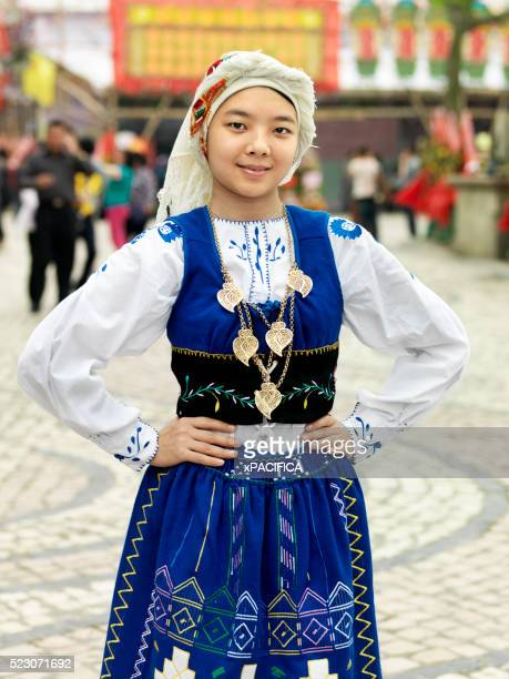 a dancer of the friends of the macanese heart association, a cultural ambassador group - traditionally portuguese stock pictures, royalty-free photos & images