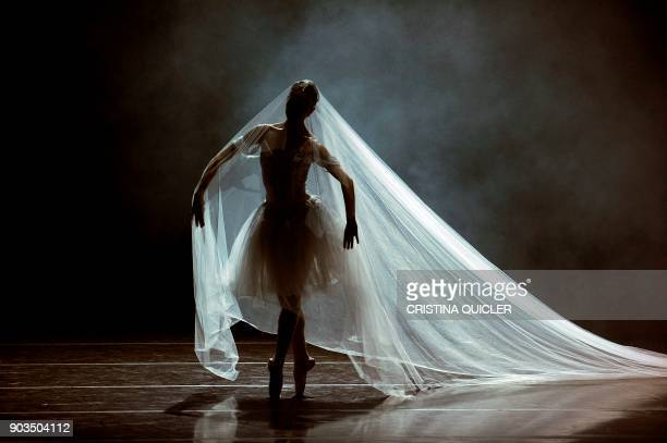 A dancer of The Spanish National Dance Company performs during a rehearsal ahead of the premiere of 'Don Quixote' at the Theater of The Maestranza in...