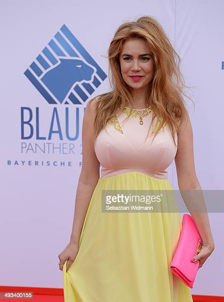 Dancer Palina Rojinski arrives for the taping of the 'Bayerischer Fernsehpreis 2014' at Prinzregententheater on May 23 2014 in Munich Germany