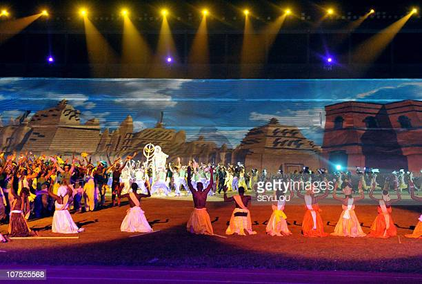 """Dancer perform on December 10, 2010 at Leopold Sedar Senghor stadium in Dakar, during the opening ceremony of the third edition of the """"World..."""