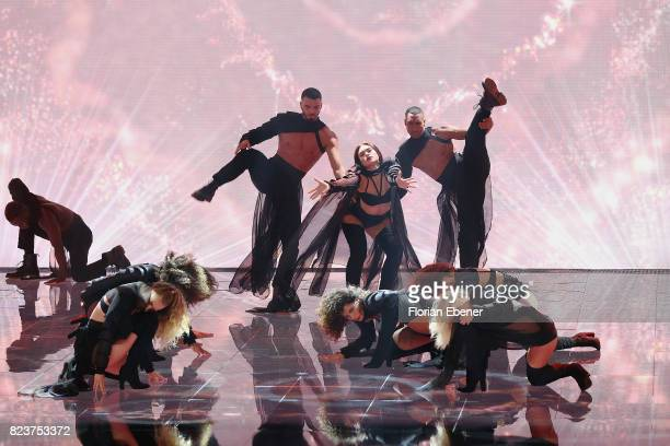Dancer perform on stage during the 1st show of the television competition 'Dance Dance Dance' on July 12 2017 in Cologne Germany The first episode of...