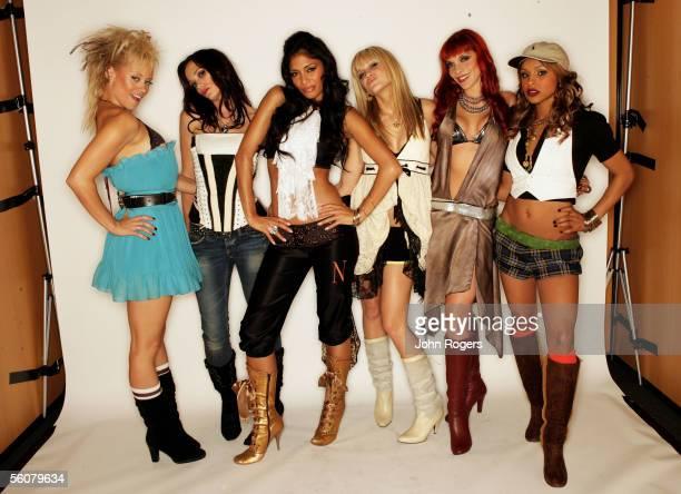 Dancer performers of the Pussycat Dolls LR Kimberley Wyatt Jessica Sutta Nicole Scherzinger Ashley Roberts Carmit Bachar and Melody Thornton pose for...