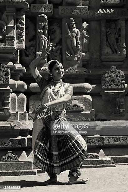 Dancer performing Bharatnatyam in Khajuraho Dance Festival Khajuraho Chhatarpur District Madhya Pradesh India