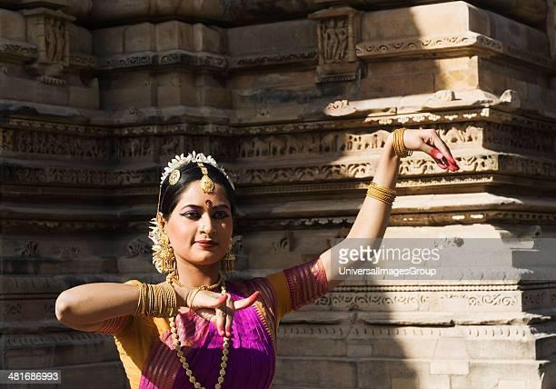 Dancer performing Bharatnatyam in Khajuraho Dance Festival, Khajuraho, Chhatarpur District, Madhya Pradesh, India.