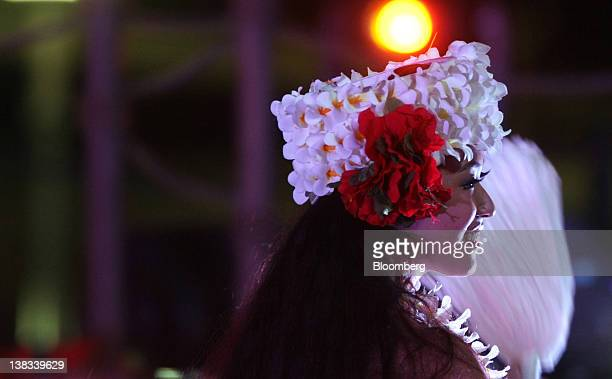 A dancer performs a Polynesian dance during a rehearsal for the reopening of the Spa Resort Hawaiians managed by Joban Kosan Co in Iwaki City...