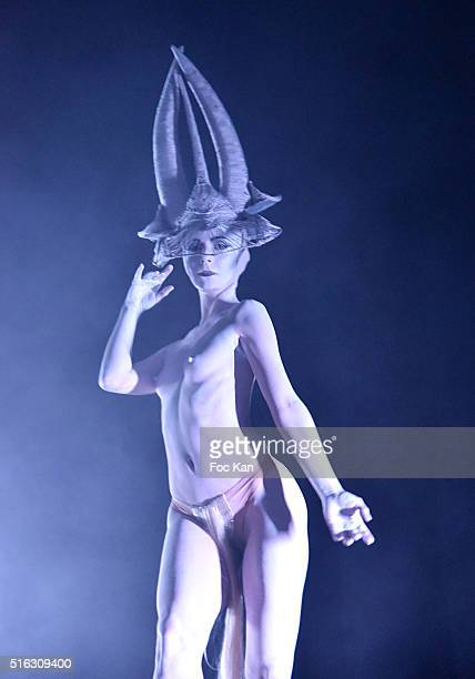A dancer performs during Charlie Le Mindu Presents 'Charliewood' as Part of Do Disturb at the Palais de Tokyo on March 17 2016 in Paris France