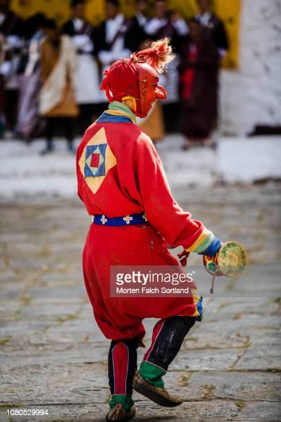 A Dancer Performs during Paro Tsechu Celebrations at Rinpung Dzong Monastery in Paro, Bhutan Springtime