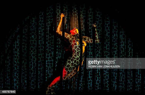A dancer performs during the cabaret burlesque show Crazy Horse Forever Crazy show in Rotterdam The Netherlands on September 19 2014 The famous...