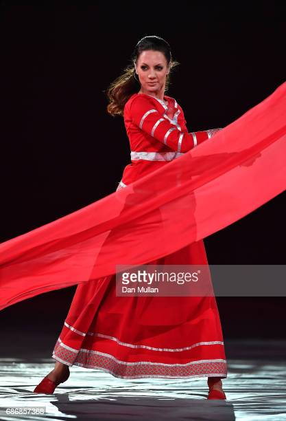 A dancer performs during the closing ceremony of Baku 2017 4th Islamic Solidarity Games at the Olympic Stadium on May 22 2017 in Baku Azerbaijan