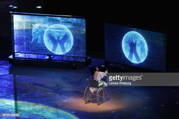 A dancer performs during the closing ceremony of the PyeongChang 2018 Paralympic Games at the PyeongChang Olympic Stadium on March 18 2018 in...