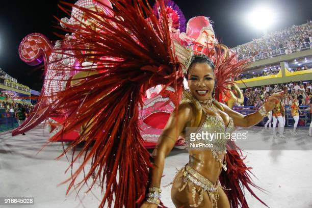 A dancer performs during the first night of carnival in Rio de Janeiro on February 9 2018