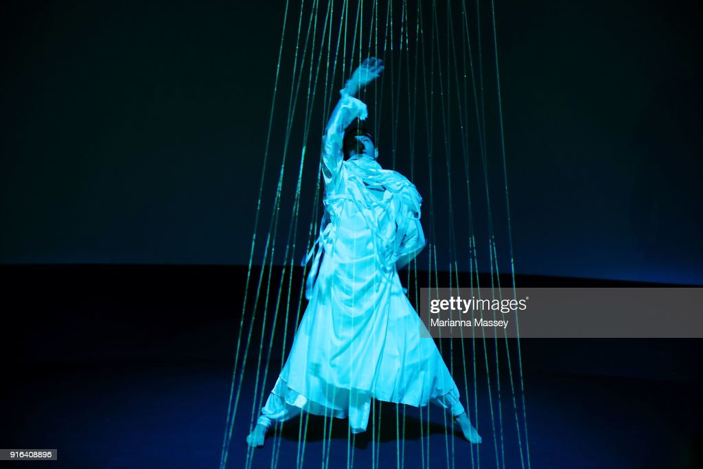 A dancer performs during the opening of the Alibaba Group Showcase at the PyeongChang 2018 Winter Olympic Games on February 10, 2018 in Gangneung, South Korea.