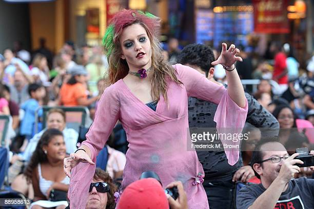A dancer performs during the Universal MoonWalk tribute to Michael Jackson at Universal CityWalk on July 9 2009 in Universal City California