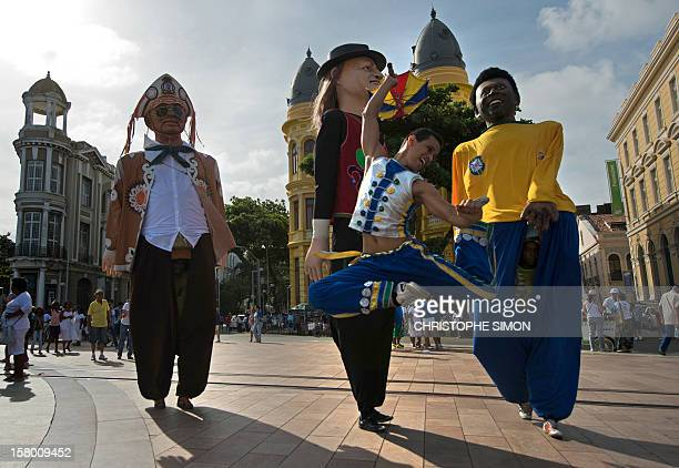 A dancer performs frevo a traditional dance of Pernambuco in Recife Brazil on December 8 2012 The frevo which dates from the end of the 19th century...