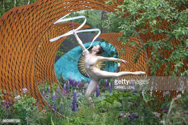 A dancer performs in The David Harber and Savills Garden at the 2018 Chelsea Flower Show in London on May 21 2018 The Chelsea flower show held...