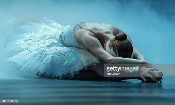 LONDON ENGLAND JANUARY 06 A dancer performs on stage during a dress rehearsal for The English National Ballet's 'Swan Lake' at the London Coliseum on...