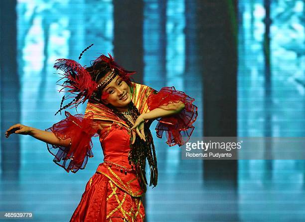 A dancer performs on stage during The Beauty of China Opera show at Pakuwon Ballroom on January 30 2014 in Surabaya Indonesia Chinese opera is an...