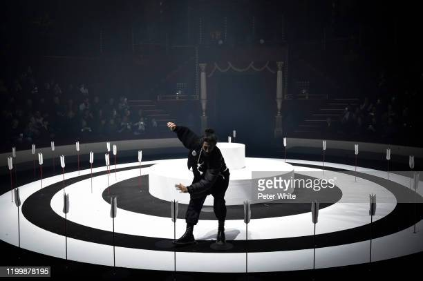 Dancer performs on the runway during the Undercover Menswear Fall/Winter 2020-2021 show as part of Paris Fashion Week on January 15, 2020 in Paris,...