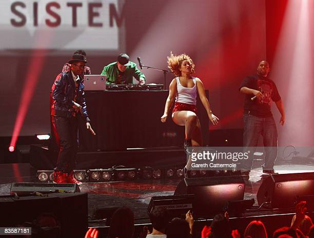 Dancer performs with Buraka Som Sistema, Regional Award Winners for Portugal during the MTV Europe Music Awards held at the Liverpool Echo Arena on...