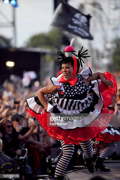 A dancer performs with Pink on stage on the last day of Isle OF Wight Festival at Seaclose Park on June 13 2010 in Newport Isle of Wight